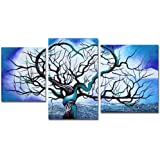 """Art Wall 3-Piece """"Origin of Life in Blue"""" Gallery Wrapped Canvas by John Black"""