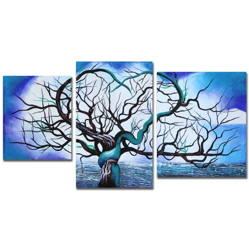 "Art Wall 3-Piece ""Origin of Life in Blue"" Gallery Wrapped Canvas by John Black"