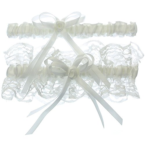 DivaDesigns Lace Ruffle Rose Ribbon Wedding Garter Set with Toss Away White
