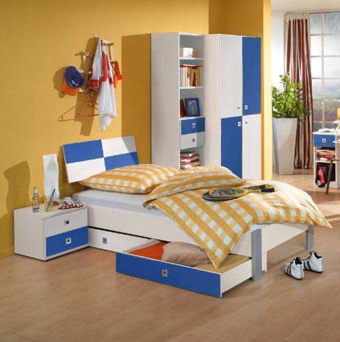 6-tlg Jugendzimmer weiß – marineblau Jugendbett Kleiderschrank Nachttisch