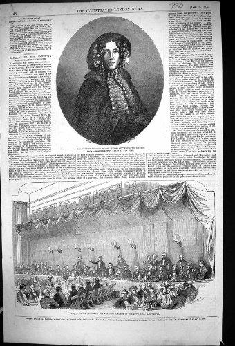 Una Stampa Antica dell'Americano 1853 di Ingersoll di Banchetto dell'Autore di Harriet Beecher Stowe...