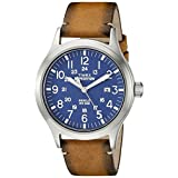 Timex Men's TW4B01800 Expedition Scout Tan/Blue Leather Strap Watch