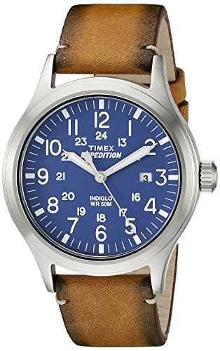 Timex Men's TW4B01800 Expedition Scout Tan/Blue Leather Strap Watch (Timex Digital Analog compare prices)
