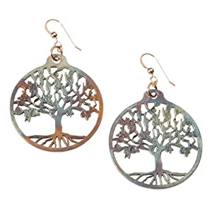 Tree of Life Iridescent Earrings on French Hooks