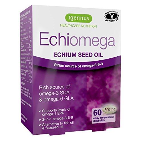 Echiomega Olio di Echium vegetariano 1000mg di omega-3-6-9, 60% meglio dell'olio di semi lino per livelli maggiori di omega-3 EPA, acidi grassi essenziali per salute di cuore, cervello, pelle e occhi, ottima alternativa all'olio di pesce, 60 capsule