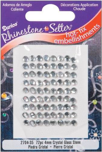 Darice Rhinestone Setter Hot-Fix Embellishments 4mm 72/Pkg: Crystal Glass Stone