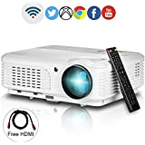 Wifi Projector 1080p Support,EUG LCD LED 3200 Lumen Home Cinema Projectors Android HDMI USB For Party Outdoor...
