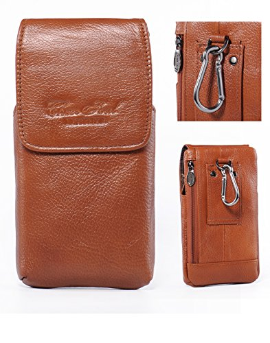 iPhone 7 Plus Belt Clip Holster,Vertical Premium Soft Genuine Leather Cellphone Pouch Holder Carrying Case Large Capacity Waist Bag for iPhone 6S Plus Galaxy Note 5 4 3 S6 S7 Edge Plus +Keychain-Brown (Iphone 4 Belt Holder compare prices)