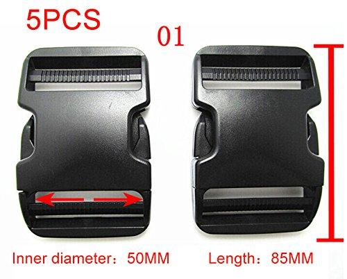 MILE 5 Pcs of Flat 50mm(2 Inch) Plastic Black Color Flat Side Release Buckles-1#