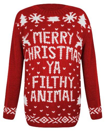 Womens Knitted Christmas Novelty Santa Reindeer Penguin Snowman Jumper Sweater [S/M - UK 8/10 = Red - Xmas Ya Filthy Animal]