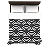 Kess InHouse Nicole Ketchum Art Deco Black 88 by 88-Inch Duvet Cover, Queen