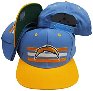 San Diego Chargers Light Blue Yellow Two Tone Snapback Adjustable Plastic Snap Back... by Reebok