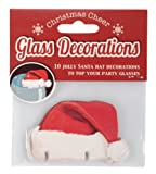 Ginger Ray Fun Christmas Glass Decorations / Card Santa Hats - Table Decorations X 10 - Great for a Party - Christmas Cheer
