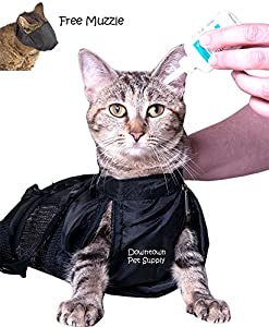 Cat Grooming Bag, Cat Restraint Bag, Cat Grooming Accessory + FREE Cat Muzzle SMALL, MEDIUM or LARGE by, Downtown Pet Supply