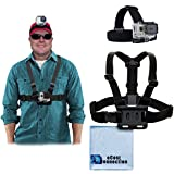 Adjustable Chest Mount Harness And Head Strap Mount For GoPro Hero1 GoPro Hero 2 GoPro Hero3 GoPro Hero3+ And GoPro Hero4 Hero4 Session + Microfiber Cloth