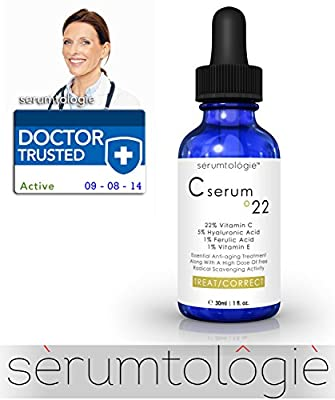 Vitamin C serum º22 by serumtologie®-Anti Aging Moisturizer-Evidence Based Pro Formula 22% Vit. C + 5% HA + 1 % Vit. E + 1% Ferulic Acid=Max. Concentration of Clinically Proven Active Ingredients 1.15oz