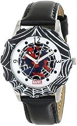 Marvel Kids' W000317 Marvel Tween Spider-Man Stainless Steel Black Bezel Black Leather Strap Watch