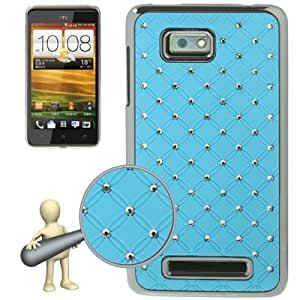 Luxury Bling Diamond Plating Skinning Case for HTC One SU/ T528W (Baby Blue)