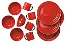 GSI Outdoors Pioneer 12 Piece Red Enamel Table Set