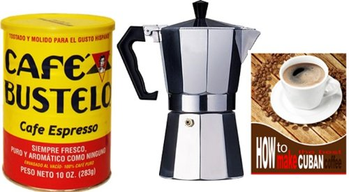 Bustelo Cuban Coffee 10 oz can and 3 Cup Coffee Maker