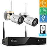 [Pan Tilt & Audio] Kittyhok 1080p FHD Wireless PTZ Security Camera System Entry Kit, 8CH 1080p Hub 1TB Storage, 2x WiFi PT Cameras w. Built-in Microphones, 24x7 IP65 Camera, Easy Mobile View & Control (Color: A- 1080p 8CH NVR 1TB w. 2 PT Cams, Tamaño: 8CH Hub 2 PT Cameras - 1TB)