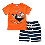 AJia® Kids 2 Piece Short Sleeve Shirt and Shorts for 1 to 5 Years Olds Little Boy (2t, Orange)