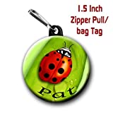 Two Lady Bug zipper pull/ bag tags 1.5 inch charms personalized with name