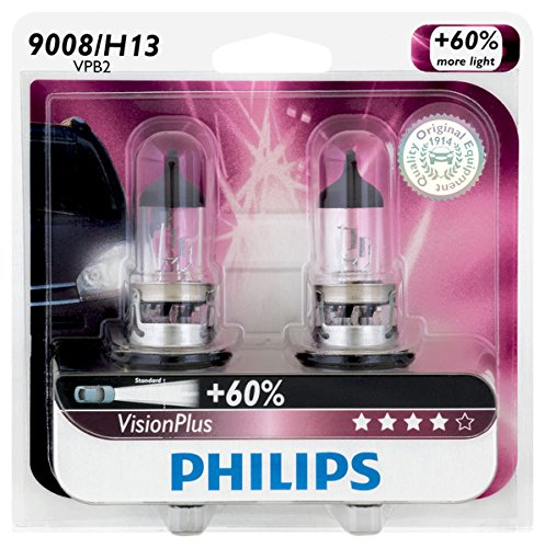 Philips 9008/ H13 VisionPlus Upgrade Headlight Bulb, Pack of 2 (2012 Chevy Cruze Halo Headlights compare prices)