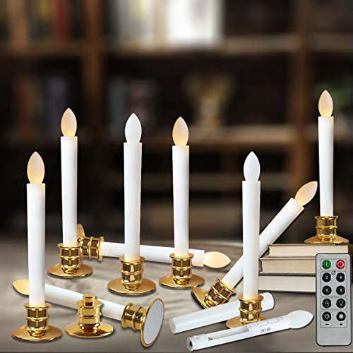 Flameless Taper Candles Led | Christmas Timer Candles Flickering AAA Battery Operated Remote | Electric Window Ivory Candles with Removable Holders Gift Party Wedding Decoration 10pcs Gold Base