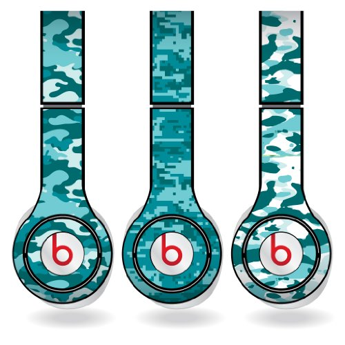 Teal Military Camouflage Print Set Of 3 Headphone Skins For Beats Solo Hd Headphones - Removable Vinyl Decal!