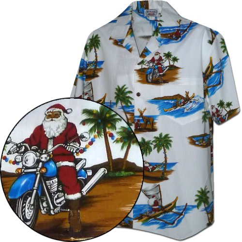 Santa in Paradise Hawaiian Shirt White