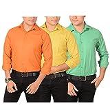 AEDI Men's Casual Shirts Combo (AEDICOMBO18_Mix Colors_L)