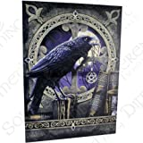 Talisman Raven - Large (70cm x 50cm) - Raven on Perch with Pentagram Amulet - Fantastic Design by Artist Lisa Parker - Canvas Picture on Frame Wall Plaque / Wall Art
