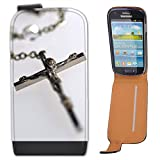 Silver Rosary with Image Of Jesus Christ on Cross Leather Flip Case Cover for Samsung Galaxy S3 Mini i8190