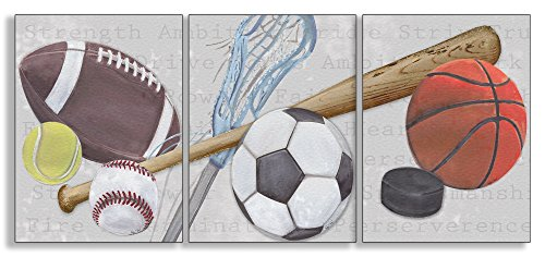 The Kids Room by Stupell Sports Balls 3-Pc Rectangle Wall Plaque Set