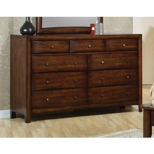 Storage Dresser Contemporary Style In Warm Brown Finish