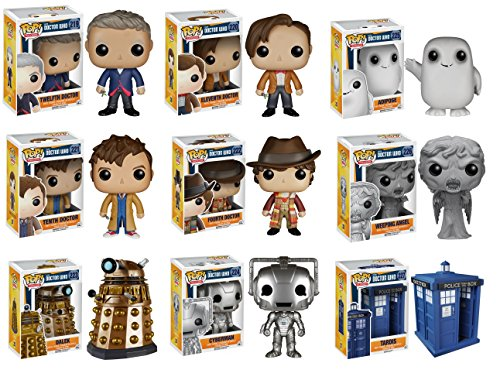 """Funko Doctor Who Dr #10, Dr #11, Dr #12, Dr #4, Adipose, Cyberman, Dalek, Weeping Angel and 6"""" Tardis Vinyl POP! Action Figures Set of 9"""