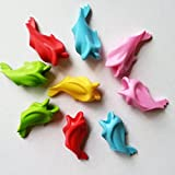 Chris-Wang 5Pcs Ergonomic Silicone Universal Dolphin Pencil Grips Aid for Childrens Better Hand Writing and Control,the Righties & Lefties Suitable, Mixed Color