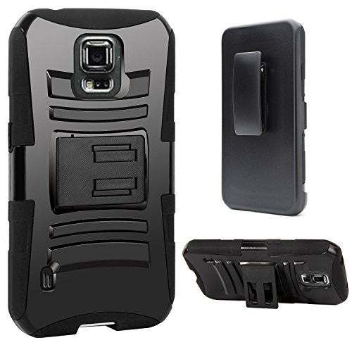 Galaxy S5 Active Case, S5 Active Holster Case By E LV - Full Body Hybrid Armor Protection for Samsung Galaxy S5 Active G870 with Backstand and Belt Swivel Clip with one Black Stylus - Black (Belt Case Samsung S5 compare prices)