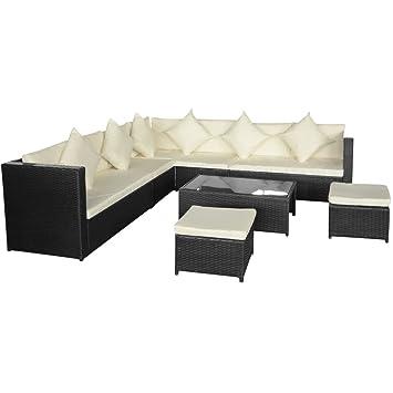 vidaXL Jeu de canapé de jardin de 29 pièces en rotin synthétique noir Salon de jardin