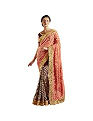 Maroon And Orange Georgette+Net Designer Party Wear Saree