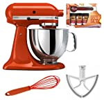 KitchenAid KSM150 Artisan 5-Qt. Tilt-Head Stand Mixer, Persimmon + Beater Blade + Kamenstein Mini Measuring Spoons Spice Set + Silicon Whisk