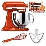 KitchenAid KSM150 Artisan 5-Qt. Tilt-Head Stand Mixer, Persimmon + Beater Blade + Kamenstein Mini Measuring Spoons Spice Set + Silicon Whisk