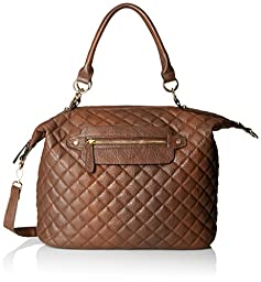 DEL MANO Quilted Convertible Top Handle Bag, Brown, One Size