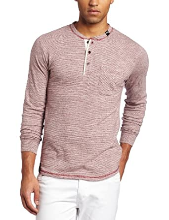 LRG Men's Longleaf Long Sleeve Henley, Maroon, Small
