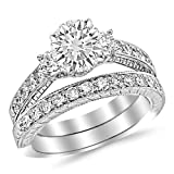 2.23 Carat Round Cut Three Stone Vintage With Milgrain & Filigree Bridal Set with Wedding Band & Diamond Engagement Ring (I-J Color, SI1 Clarity)
