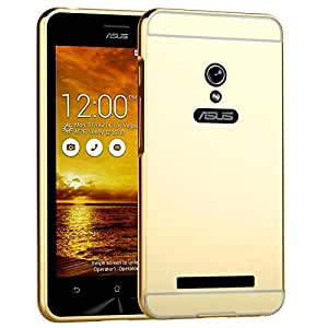 MACC Luxury Aluminium Bumper With Mirror Acrylic Back Cover For Asus Zenfone 5 - YELLOWGOLD