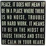 Primitives by Kathy Box Sign, 10-Inch square, Peace