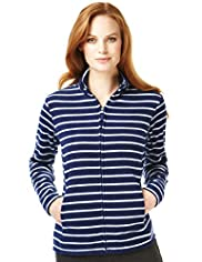 Funnel Neck Striped Fleece Jacket