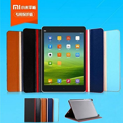 "Crazy Horse Slim Leather Flip case cover with Wallet slot for Xiaomi Mi Pad 7.9"" Tablet - Grey Blue"
